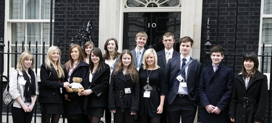 Students outside number 10