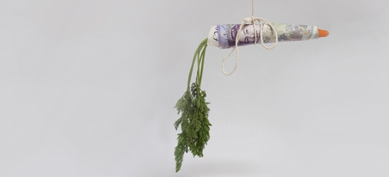 Carrot wrapped in money