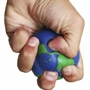 A hand squeezing a rubber globe