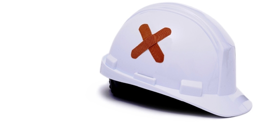 Hard hat with a plaster on it